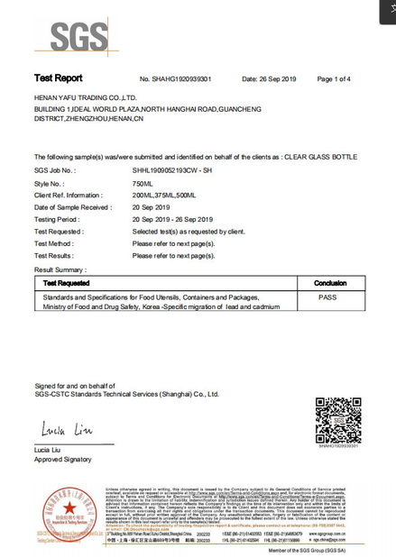 Chine China Yafu Glassware Co., Ltd. Certifications